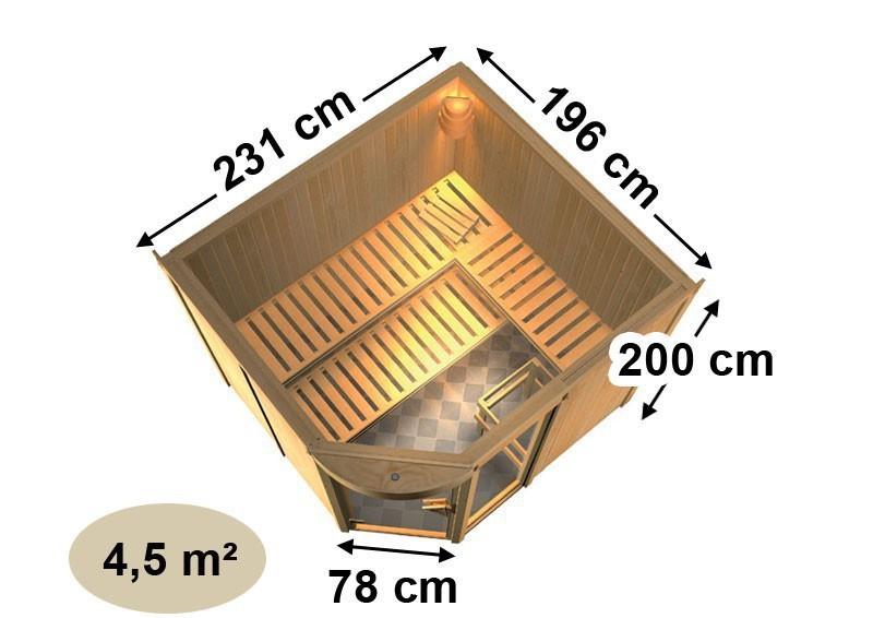 Karibu System Sauna Lakura (Rundeinstieg) 68 mm inkl. Ofen 9 KW ext. Steuerung