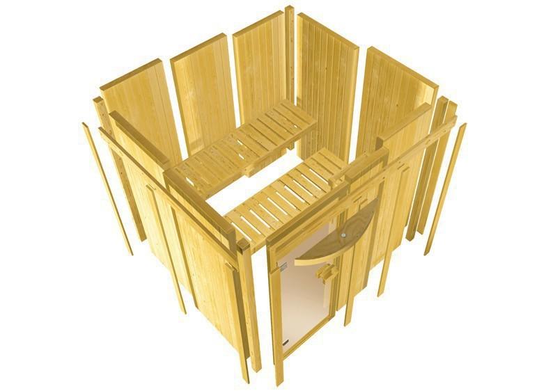 Karibu System Sauna Lakura (Rundeinstieg) 68 mm  inkl. Ofen 9 kW Bio-Kombi ext. Steuerung
