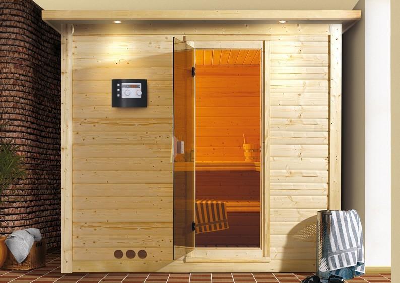 Karibu Massiv Sauna Mojave Classic (Fronteinstieg) 40 mm mit Dachkranzinkl. Ofen 9 kW mit integr. Steuerung