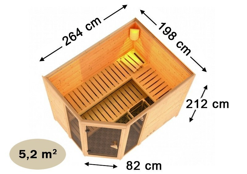 Karibu Massiv Sauna Sinai 3 (Eckeinstieg) 40 mm  inkl. Ofen 9 kW Bio-Kombi ext. Steuerung