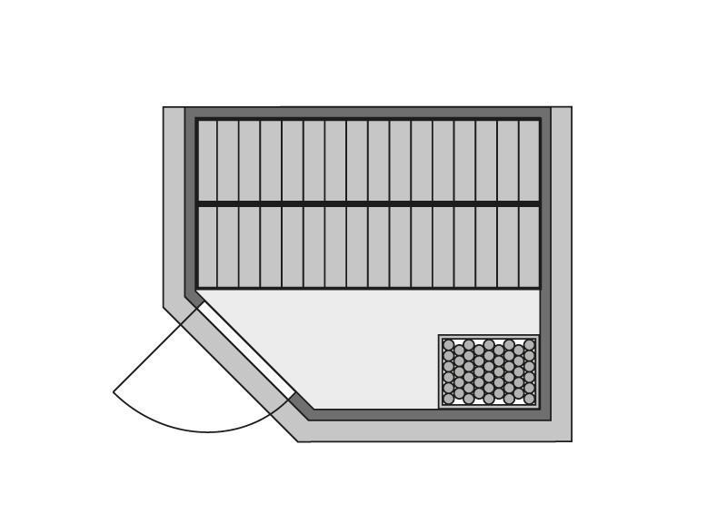 Karibu Massiv Sauna Sinai 3 (Eckeinstieg) 40 mm mit Dachkranz inkl. Ofen 9 kW Bio-Kombi ext. Steuerung