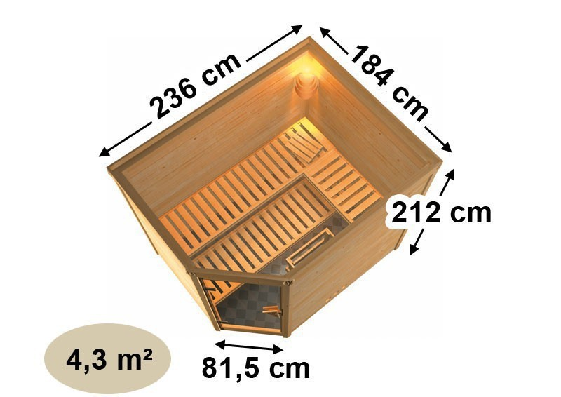 Karibu Massiv Sauna Tanami (Eckeinstieg) 40 mm inkl. Ofen 9 KW ext. Steuerung