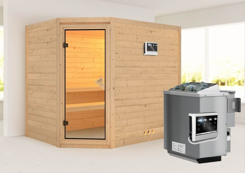 Karibu Massiv Sauna Tanami (Eckeinstieg) 40 mm  inkl. Ofen 9 kW Bio-Kombi ext. Steuerung