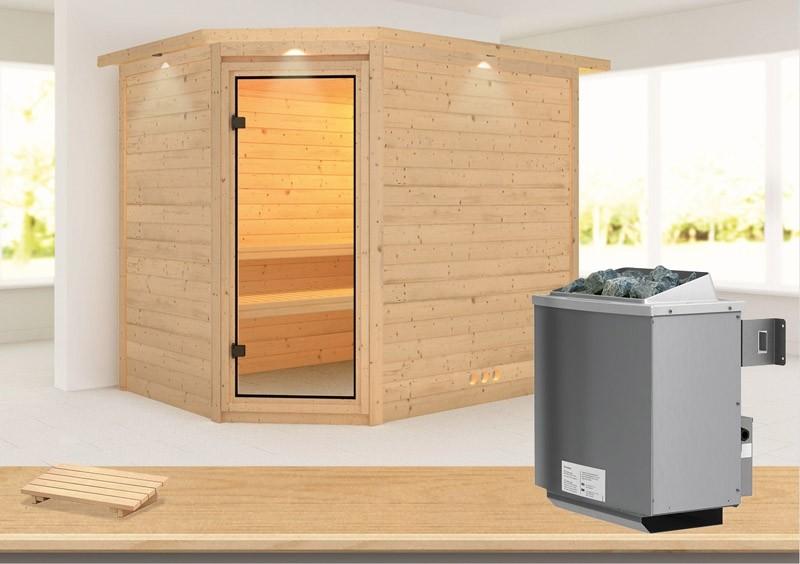 Karibu Massiv Sauna Tanami (Eckeinstieg) 40 mm mit Dachkranz inkl. Ofen 9 kW mit integr. Steuerung