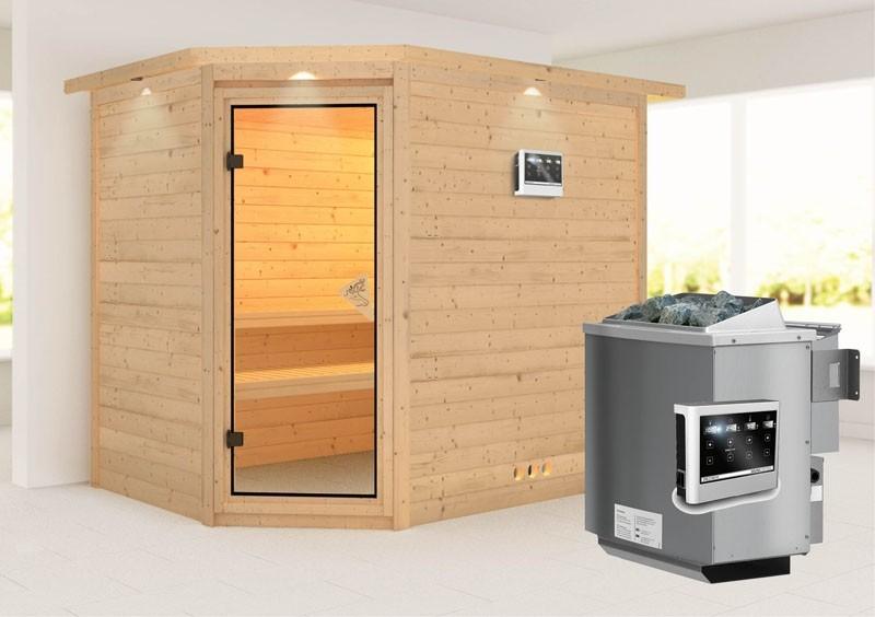 Karibu Massiv Sauna Tanami (Eckeinstieg) 40 mm mit Dachkranz inkl. Ofen 9 kW Bio-Kombi ext. Steuerung
