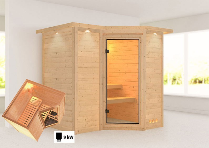 Karibu Massiv Sauna Sahib 1 Classic (Eckeinstieg) 40 mm mit Dachkranz inkl. Ofen 9 kW mit integr. Steuerung
