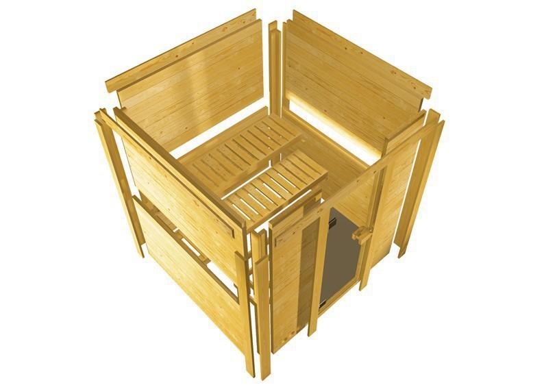 Karibu Massiv Sauna Sahib 1 Classic (Eckeinstieg) 40 mm mit Dachkranz inkl. Ofen 9 KW ext. Steuerung