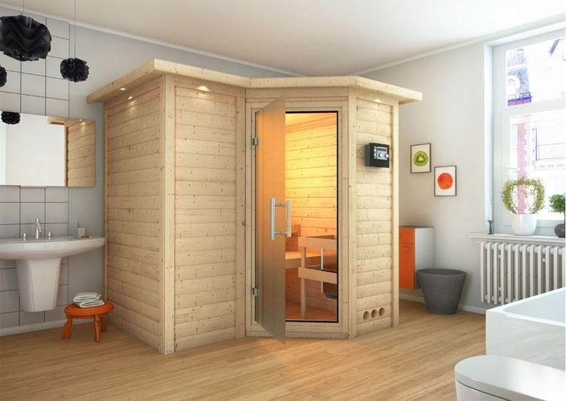 Karibu Massiv Sauna Sahib 1 Classic (Eckeinstieg) 40 mm mit Dachkranz inkl. Ofen 9 kW Bio-Kombi ext. Steuerung