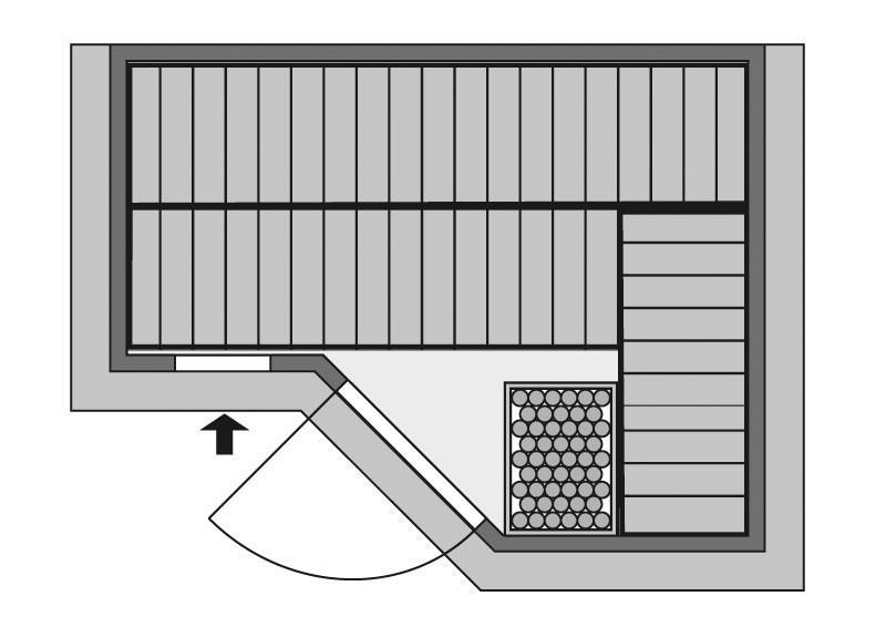 Karibu Massiv Sauna Sahib 2 Classic (Eckeinstieg) 40 mm inkl. Ofen 9 kW mit integr. Steuerung