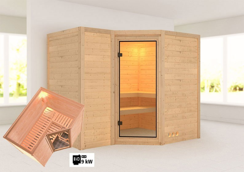 Karibu Massiv Sauna Sahib 2 Classic (Eckeinstieg) 40 mm inkl. Ofen 9 kW Bio-Kombi ext. Steuerung