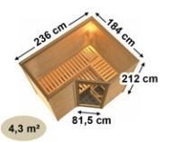 Karibu Massiv Sauna Sahib 2 Classic (Eckeinstieg) 40 mm mit Dachkranz inkl. Ofen 9 KW ext. Steuerung