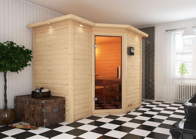 Karibu Massiv Sauna Sahib 2 Classic (Eckeinstieg) 40 mm mit Dachkranz inkl. Ofen 9 kW Bio-Kombi ext. Steuerung