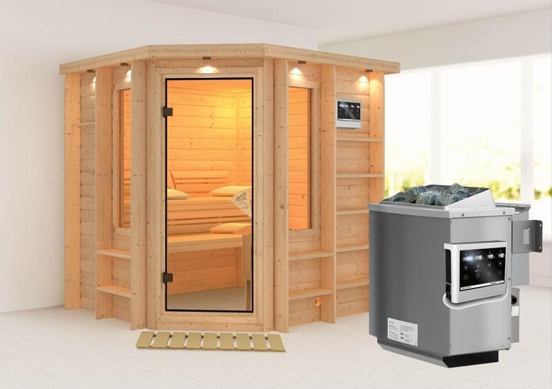 Karibu Massiv Sauna Cortona (Eckeinstieg) 40 mm mit Dachkranz inkl. Ofen 9 kW Bio-Kombi ext. Steuerung