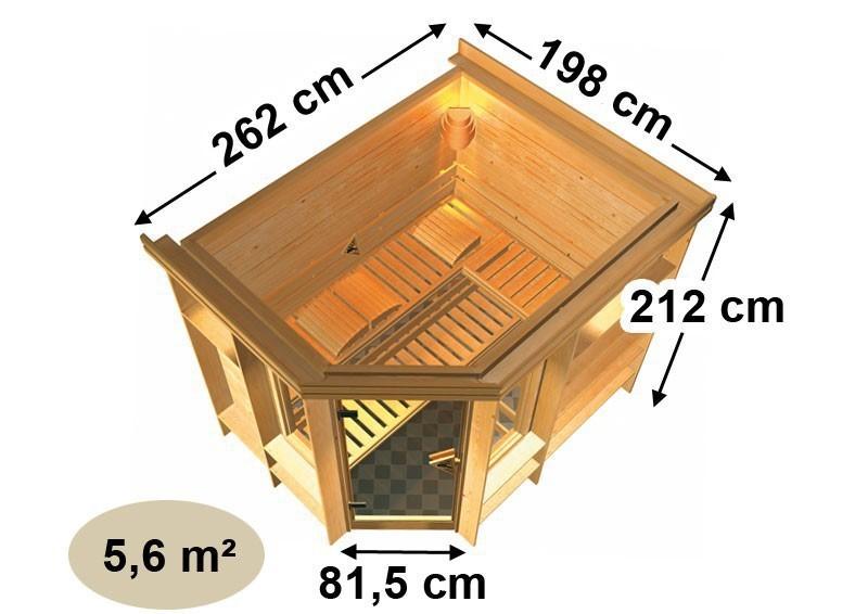 Karibu Massiv Sauna Riona (Eckeinstieg) 40 mm mit Dachkranz inkl. Ofen 9 KW ext. Steuerung