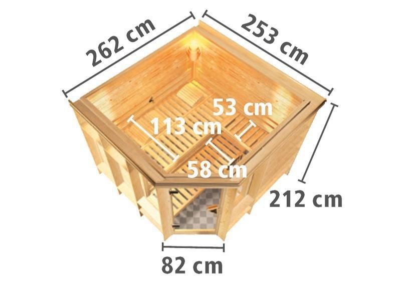 Karibu Massiv Sauna Marona (Eckeinstieg) 40 mm mit Dachkranz inkl. Ofen 9 kW Bio-Kombi ext. Steuerung