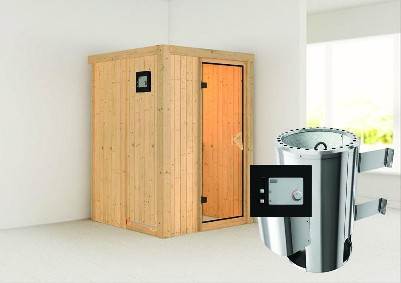 Karibu System Sauna 230 Volt Lenja (Fronteinstieg) 68 mm inkl. Ofen 3,6 kW ext. Steuerung