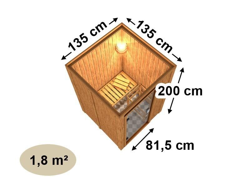 Karibu System Sauna 230 Volt Lenja (Fronteinstieg) 68 mm mit Dachkranz  inkl. Ofen 3,6 kW integr. Steuerung