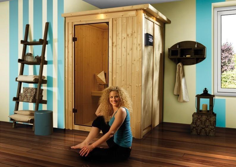 Karibu System Sauna 230 Volt Lenja (Fronteinstieg) 68 mmmit Dachkranz inkl. Ofen 3,6 kW Bio-Kombi ext. Steuerung
