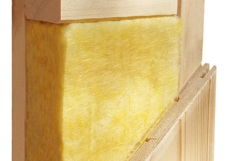 Karibu System Sauna 230 Volt Minja (Fronteinstieg) 68 mm mit Dachkranz inkl. Ofen 3,6 kW Bio-Kombi ext. Steuerung