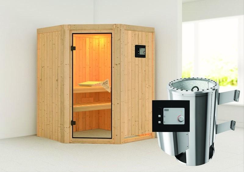 Karibu System Sauna 230 Volt Nanja (Eckeinstieg) 68 mm inkl. Ofen 3,6 kW ext. Steuerung