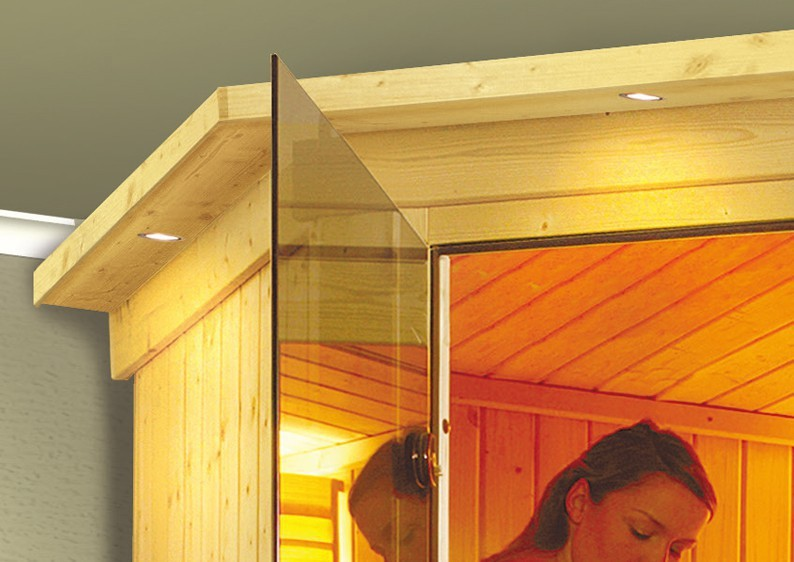 Karibu System Sauna 230 Volt Nanja (Eckeinstieg) 68 mm mit Dachkranz inkl. Ofen 3,6 kW integr. Steuerung