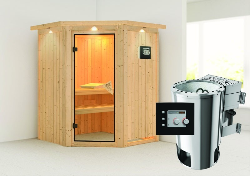 Karibu System Sauna 230 Volt Nanja (Eckeinstieg) 68 mm mit Dachkranz inkl. Ofen 3,6 kW Bio-Kombi ext. Steuerung