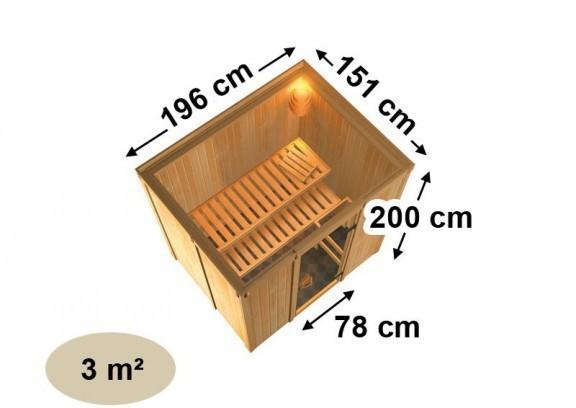 Karibu System Sauna 230 Volt Fanja (Fronteinstieg) 68 mm inkl. Ofen 3,6 kW integr. Steuerung