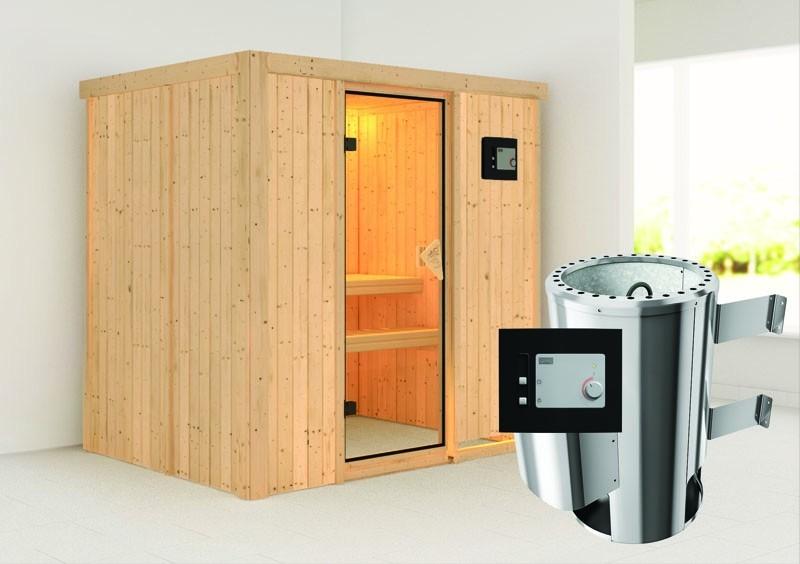 Karibu System Sauna 230 Volt Fanja (Fronteinstieg) 68 mm inkl. Ofen 3,6 kW ext. Steuerung