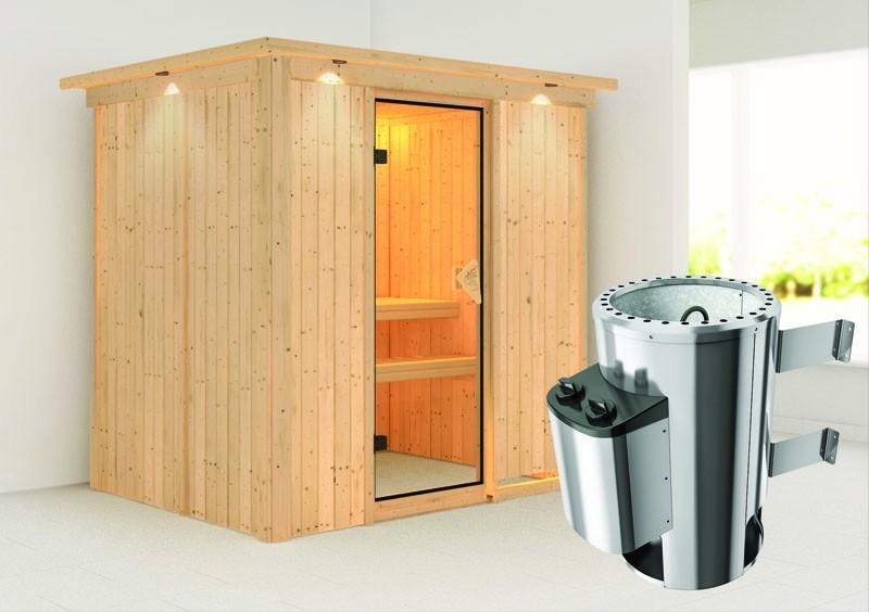 Karibu System Sauna 230 Volt Fanja (Fronteinstieg) 68 mm mit Dachkranz inkl. Ofen 3,6 kW integr. Steuerung