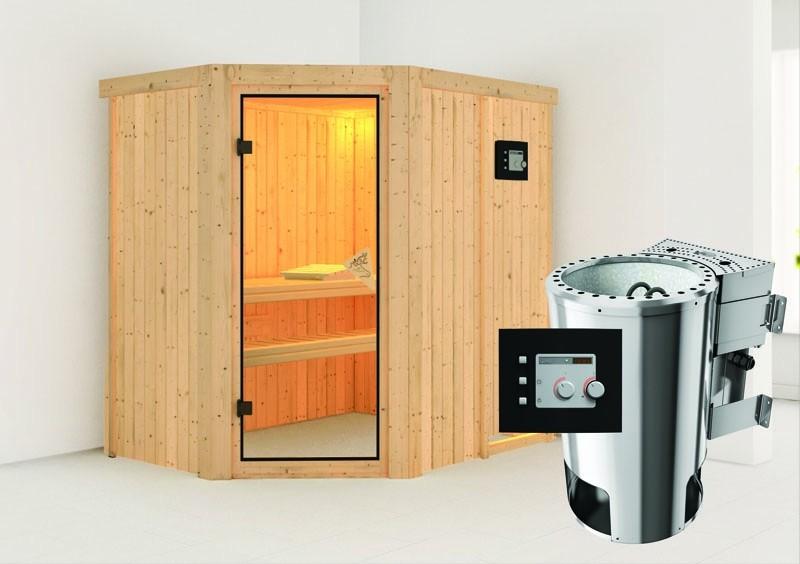 Karibu System Sauna 230 Volt Saja (Eckeinstieg) 68 mm inkl. Ofen 3,6 kW Bio-Kombi ext. Steuerung