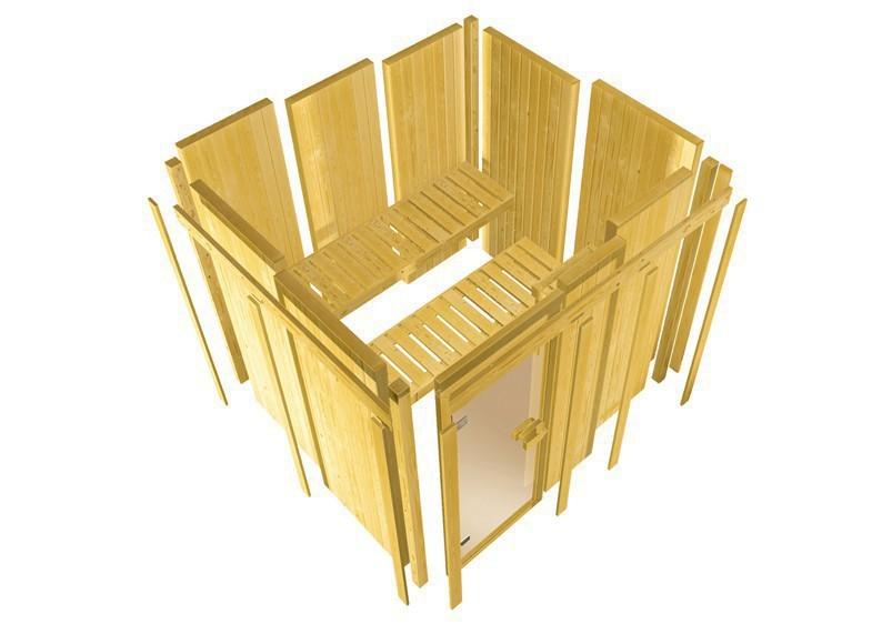 Karibu System Sauna 230 Volt Saja (Eckeinstieg) 68 mm mit Dachkranz inkl. Ofen 3,6 kW integr. Steuerung