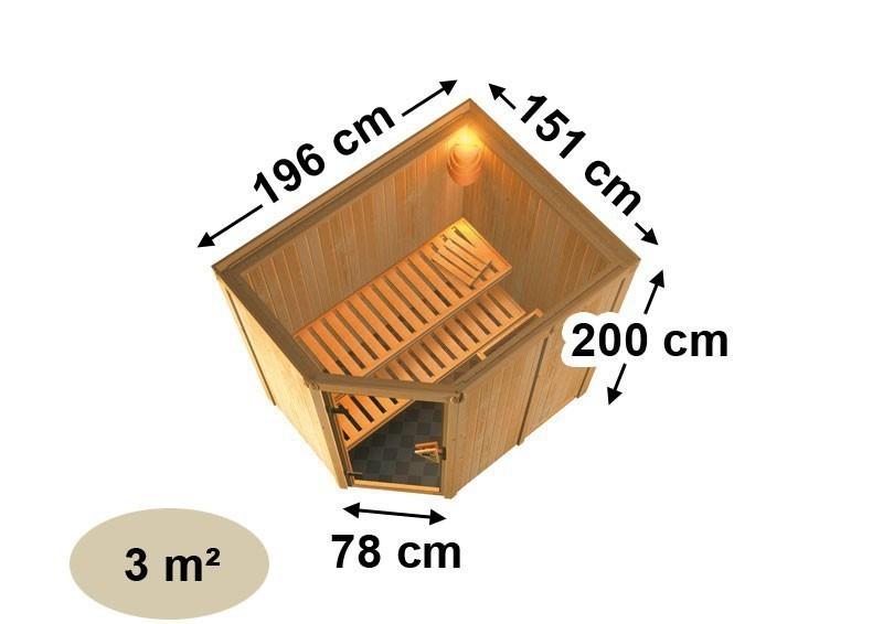 Karibu System Sauna 230 Volt Saja (Eckeinstieg) 68 mm mit Dachkranz inkl. Ofen 3,6 kW Bio-Kombi ext. Steuerung