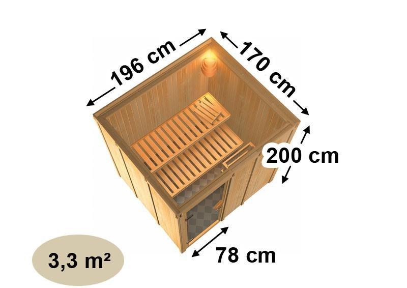Karibu System Sauna 230 Volt Daria (Fronteinstieg) 68 mm inkl. Ofen 3,6 kW integr. Steuerung