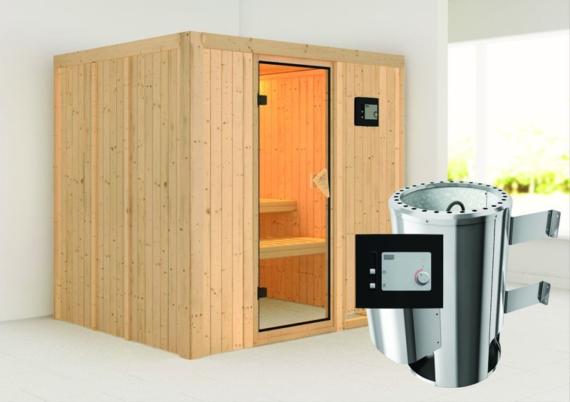 Karibu System Sauna 230 Volt Daria (Fronteinstieg) 68 mm inkl. Ofen 3,6 kW ext. Steuerung