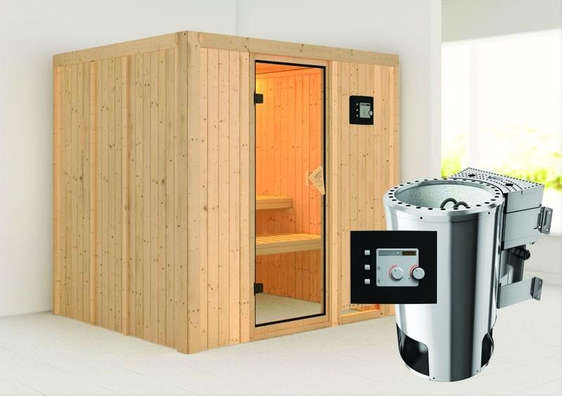 Karibu System Sauna 230 Volt Daria (Fronteinstieg) 68 mm inkl. Ofen 3,6 kW Bio-Kombi ext. Steuerung