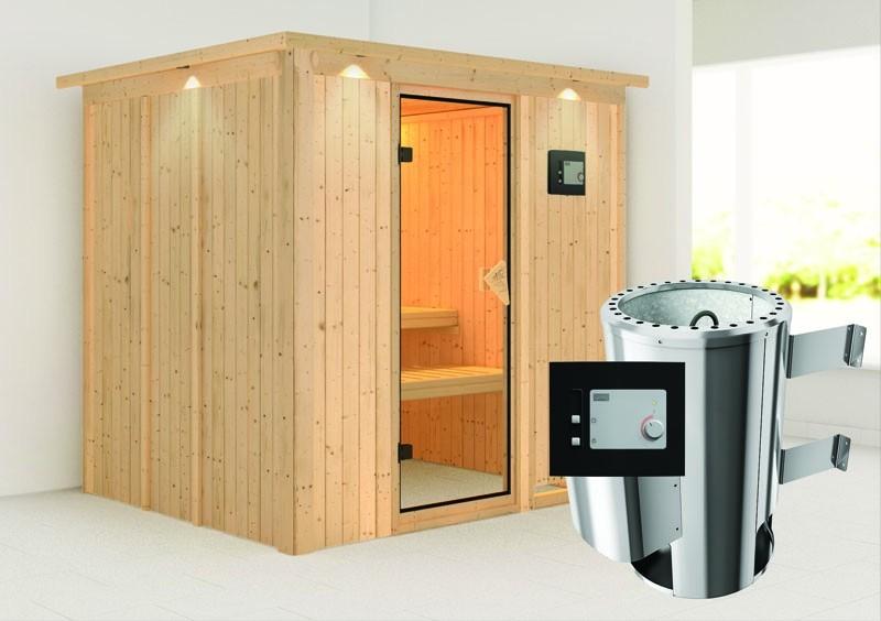 Karibu System Sauna 230 Volt Daria (Fronteinstieg) 68 mm mit Dachkranz inkl. Ofen 3,6 kW ext. Steuerung