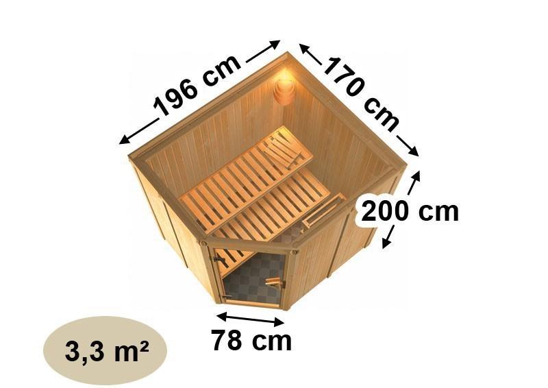 Karibu System Sauna 230 Volt Lilja (Eckeinstieg) 68 mm inkl. Ofen 3,6 kW integr. Steuerung