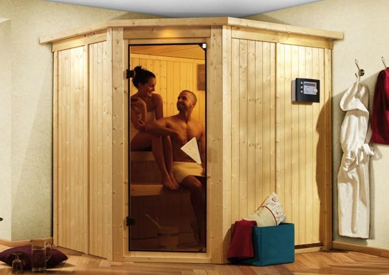 Karibu System Sauna 230 Volt Lilja (Eckeinstieg) 68 mm inkl. Ofen 3,6 kW ext. Steuerung