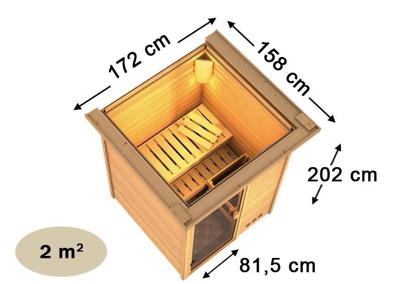 Karibu Massiv Sauna 230 Volt Nadja (Fronteinstieg) 38 mm inkl. Ofen 3,6 kW integr. Steuerung