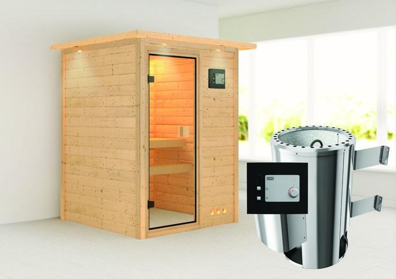 Karibu Massiv Sauna 230 Volt Nadja (Fronteinstieg) 38 mm mit Dachkranz inkl. Ofen 3,6 kW ext. Steuerung