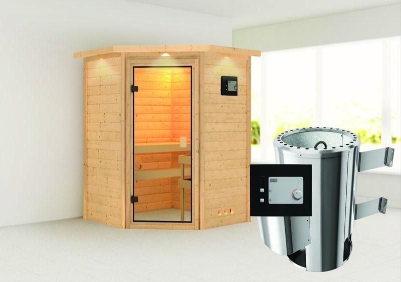 Karibu Massiv Sauna 230 Volt Alicja (Eckeinstieg) 38 mm mit Dachkranz inkl. Ofen 3,6 kW ext. Steuerung