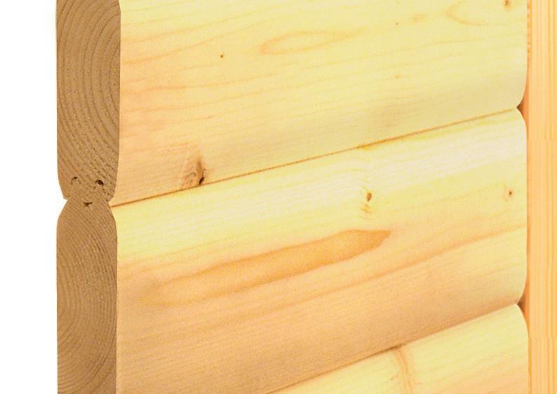 Karibu Massiv Sauna 230 Volt Ronja (Fronteinstieg) 38 mm inkl. Ofen 3,6 kW Bio-Kombi ext. Steuerung