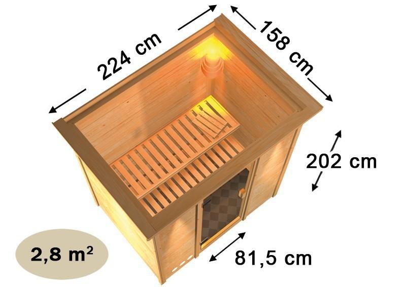 Karibu Massiv Sauna 230 Volt Ronja (Fronteinstieg) 38 mm mit Dachkranz inkl. Ofen 3,6 kW Bio-Kombi ext. Steuerung