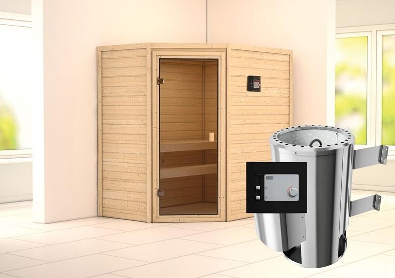 Karibu Massiv Sauna 230 Volt Cilja (Eckeinstieg) 38 mm inkl. Ofen 3,6 kW ext. Steuerung