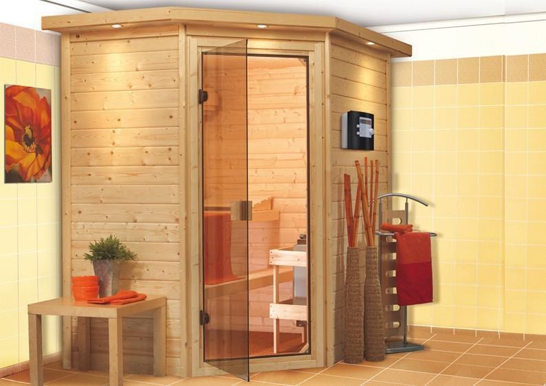Karibu Massiv Sauna 230 Volt Cilja (Eckeinstieg) 38 mm inkl. Ofen 3,6 kW Bio-Kombi ext. Steuerung