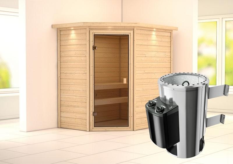 Karibu Massiv Sauna 230 Volt Cilja (Eckeinstieg) 38 mm mit Dachkranz inkl. Ofen 3,6 kW integr. Steuerung