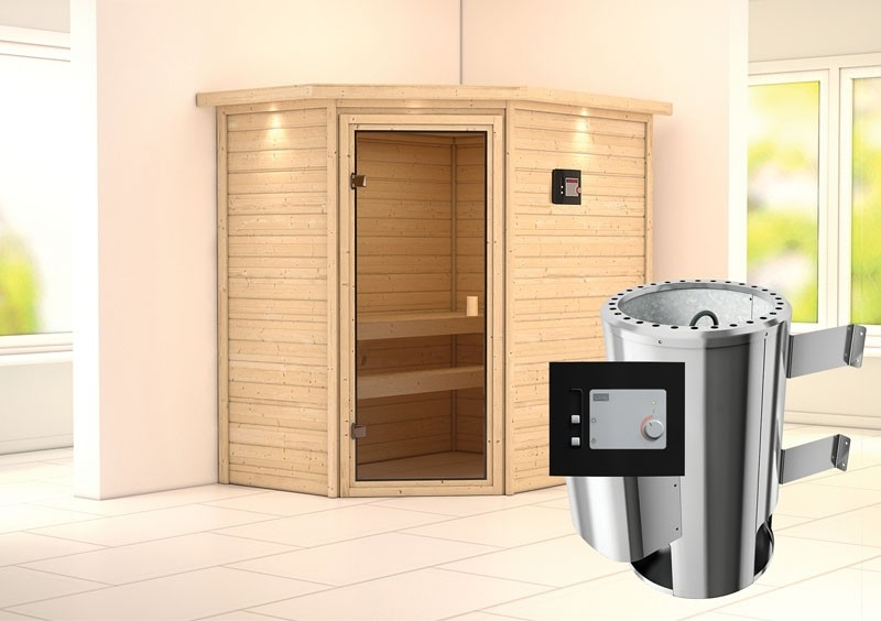 Karibu Massiv Sauna 230 Volt Cilja (Eckeinstieg) 38 mm mit Dachkranz inkl. Ofen 3,6 kW ext. Steuerung