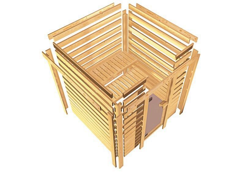 Karibu Massiv Sauna 230 Volt Cilja (Eckeinstieg) 38 mm mit Dachkranz inkl. Ofen 3,6 kW Bio-Kombi ext. Steuerung