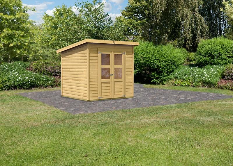 Karibu Holz-Gartenhaus Merseburg 4 - 14 mm Pultdach im Steck- und Schraubsystem - naturbelassen
