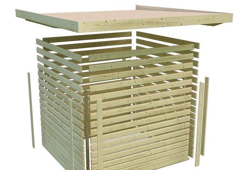 Karibu Holz-Gartenhaus Glücksburg 4 Pultdach 19 mm System - terragrau